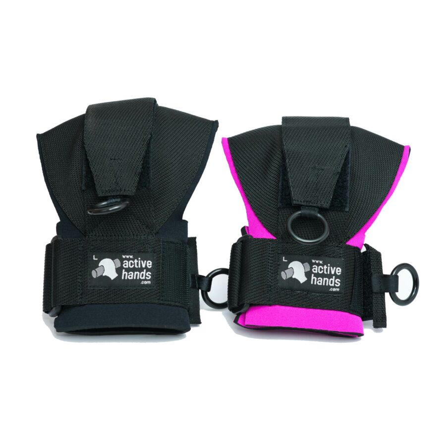 "General Purpose gripping aids: black or pink ""aids sold individually"". Adaptive gym equipment. Suitable for reduced hand function: tetra, quad, cerebral palsy, SCI, spinal cord injury, stroke and more. Also known as quad grips, hand grips, gripping assist, quad hand strap, adaptive grip."