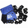 Gym pack deluxe 'bigger and better'. pair of General Purpose aids, pair of looped aids, pair of d-ring aids, 2x heavy use gripping wraps, 2 x thumb protectors, pair Hook aids and a 'get a grip' slogan gym bag. Adaptive gym equipment. Suitable for reduced hand function: tetra, quad, cerebral palsy, SCI, spinal cord injury, stroke and more.