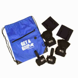 Gym Pack. 2 General Purpose aids, pair looped aids, 2 heavy use grip wraps and 'get a grip' slogan bag. Adaptive gym equipment. Suitable for reduced hand function: tetra, quad, cerebral palsy, SCI, spinal cord injury, limb difference, stroke and more.