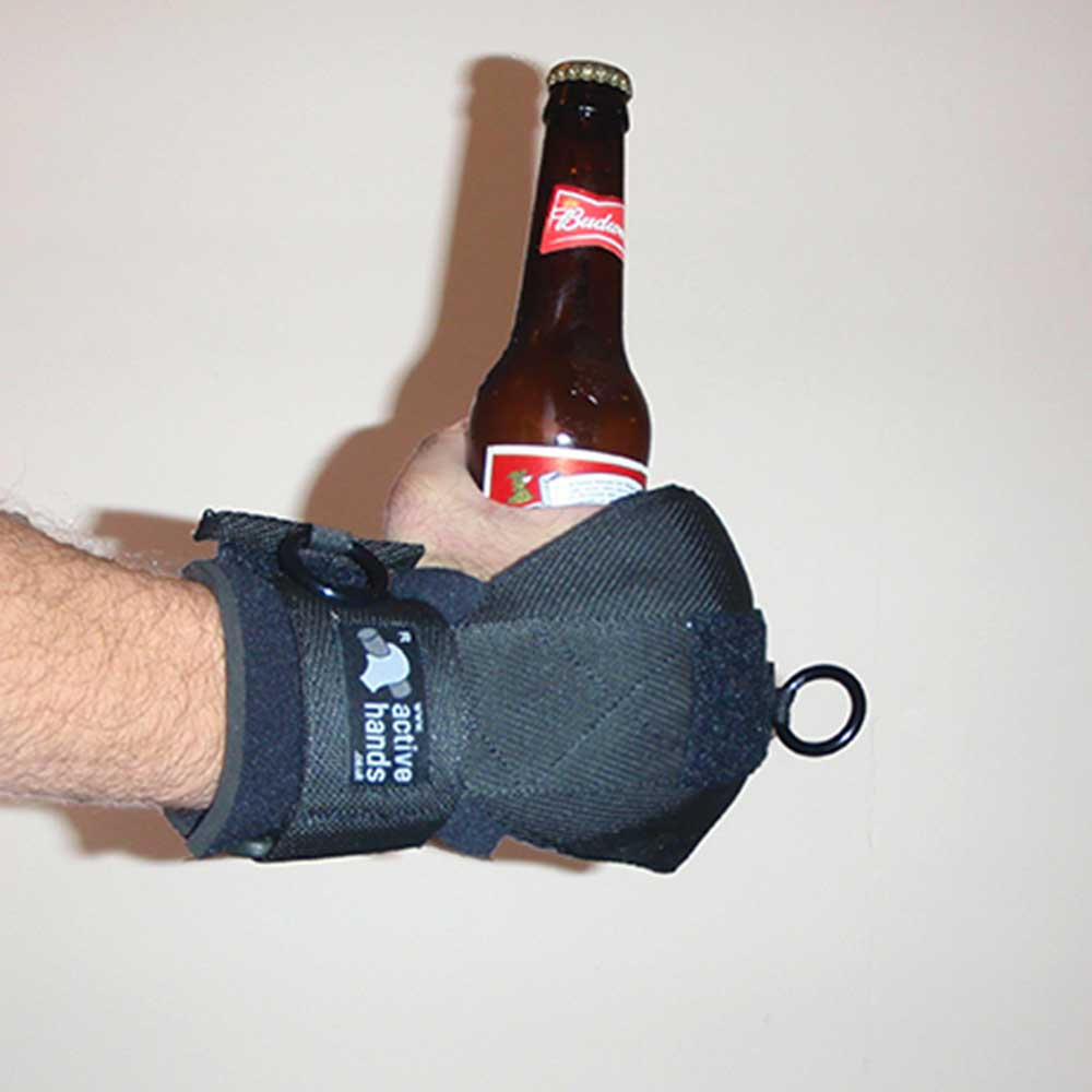 General Purpose aid holding beer bottle. Adaptive gym equipment. Suitable for reduced hand function: tetra, quad, cerebral palsy, SCI, spinal cord injury, limb difference, stroke and more.
