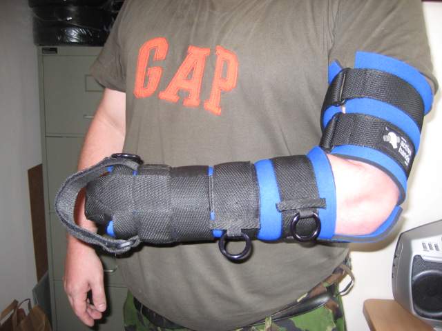 Bespoke gripping aid with straps up the arm