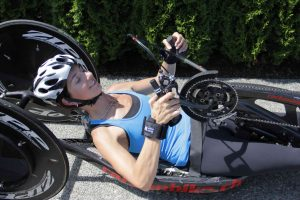 She also uses them for riding her hand-bike.