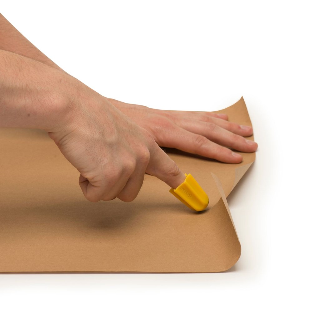 Nimble - one finger package opener cutting packing paper. Adaptive kitchen equipment. Suitable for reduced hand function: tetra, quad, cerebral palsy, SCI, spinal cord injury, stroke and more.