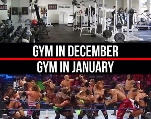 Top: gym in December (image of empty gym). Bottom: Gym in January (image of full boxing ring)