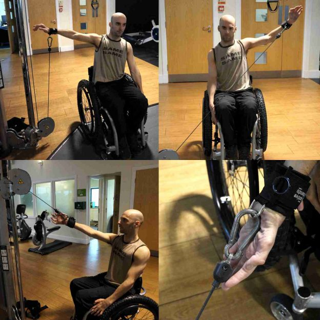 Rob with d-ring. Adaptive gym equipment. Suitable for reduced hand function: tetra, quad, cerebral palsy, SCI, spinal cord injury, limb difference, stroke and more.
