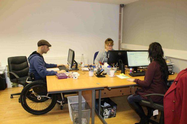 working at desks