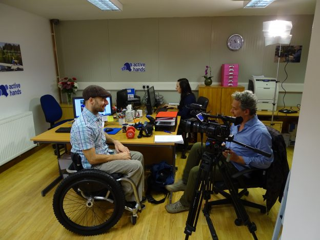 BBC filming in the Active Hands Office