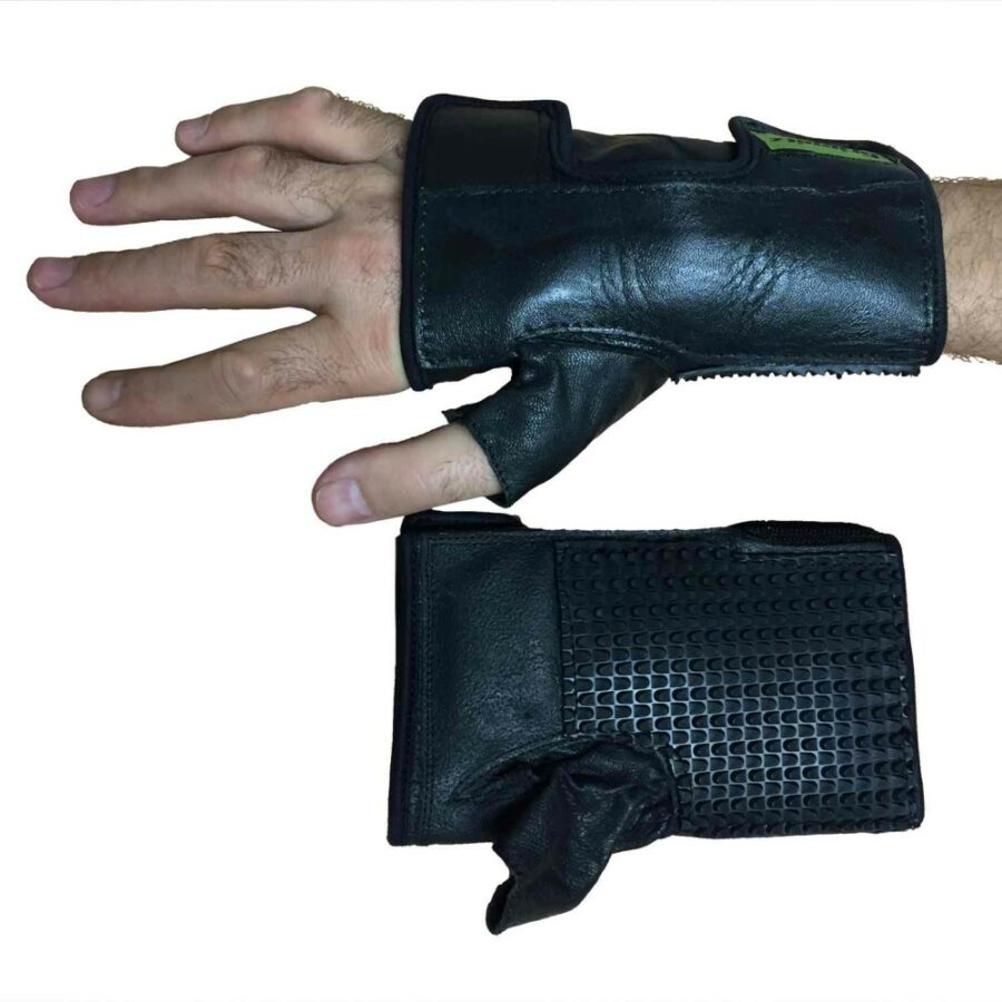Push glove on hand. Suitable for reduced hand function: tetra, quad, cerebral palsy, SCI, spinal cord injury, stroke and more.