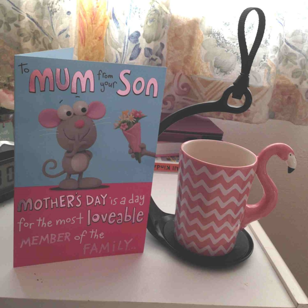 SpillNot drinks tray carrying mug with Mother's day card. Suitable for reduced hand function: tetra, quad, cerebral palsy, SCI, spinal cord injury, stroke and more.