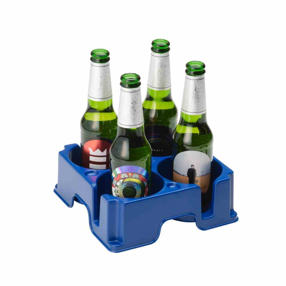 Muggi drinks anti-spill drinks tray holding 4 bottles of beer. Suitable for reduced hand function: tetra, quad, cerebral palsy, SCI, spinal cord injury, stroke and more.