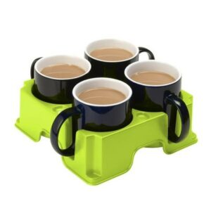 Muggi drinks anti-spill drinks tray holding 4 mugs of tea. Suitable for reduced hand function: tetra, quad, cerebral palsy, SCI, spinal cord injury, stroke and more.