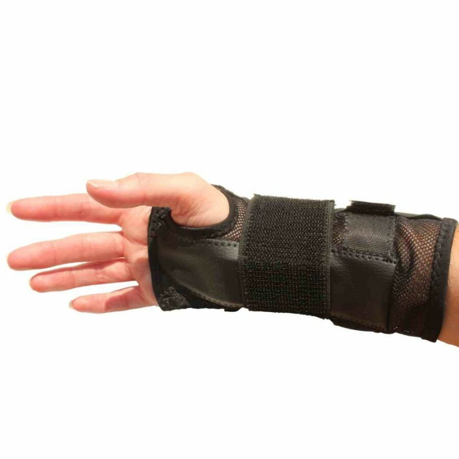 Wrist splint on hand. Suitable for reduced hand function: tetra, quad, cerebral palsy, SCI, spinal cord injury, stroke and more.