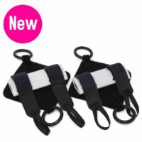 "Extra palm pads 2 pack with ""new"" icon. Hook aid extras pack - 4 tubes, 2 elastics. Adaptive gym equipment. Suitable for reduced hand function: tetra, quad, cerebral palsy, SCI, spinal cord injury, stroke and more."