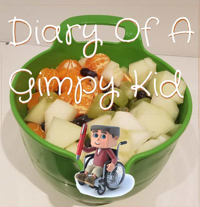Fruit bowl with 'Diary of a Gimpy Kid' blog logo over it