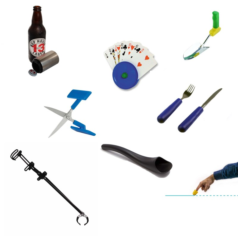 Assistive devices for hands, occupational therapy tools.