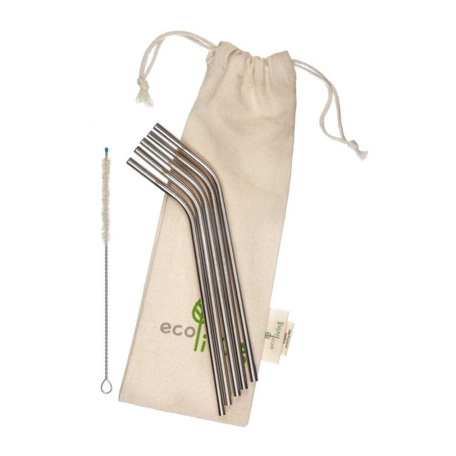 metal eco-friendly straws. 5 pack with eco-friendly cleaner and carry case.