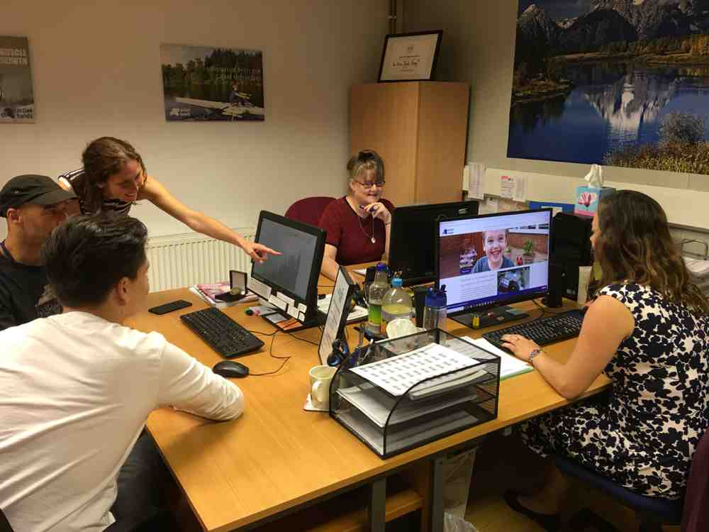 Toby with Active Hands staff doing work experience