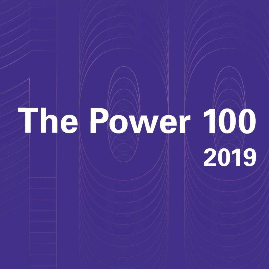 "Words ""The Power 100 2019"" on a purple square"
