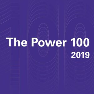 """Words """"The Power 100 2019"""" on a purple square"""