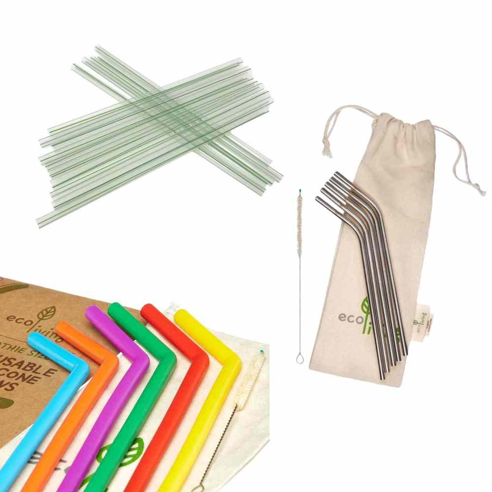 Pictures of compostable, stainless steel and silicone straws