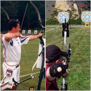 Damien competing in archery before and after his accident
