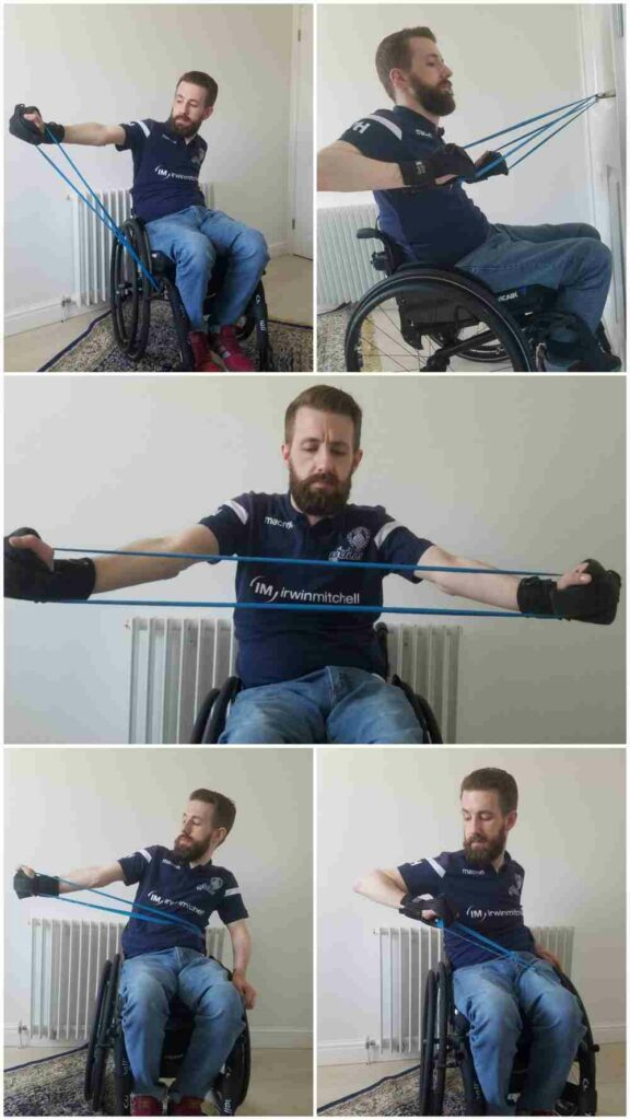 Gareth demonstrates a range of Theraband/resistance band exercises