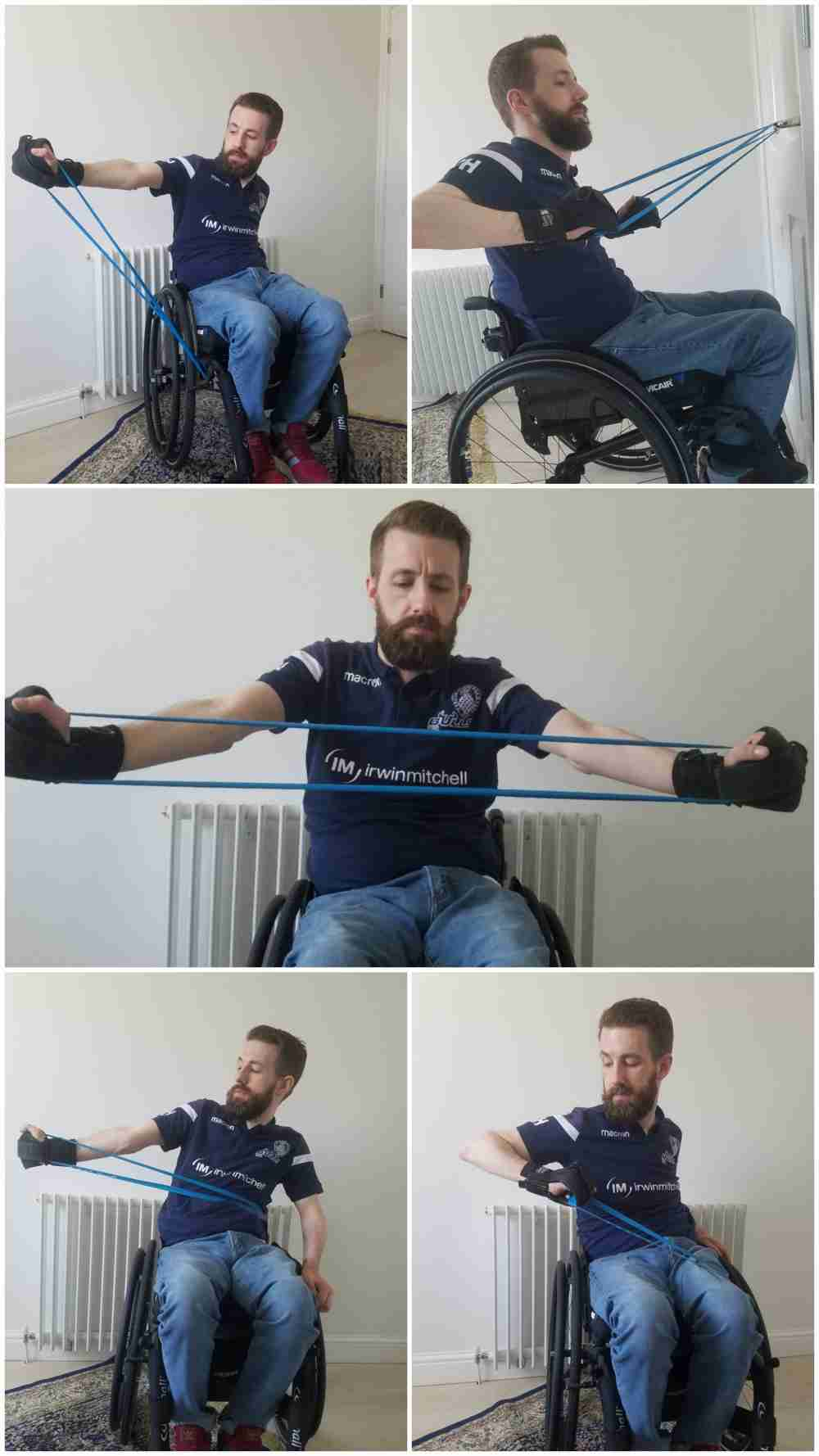 Gareth demonstrates a range of Theraband/resistance band exercise