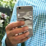 Grey camo cat tongue phone grip sticker