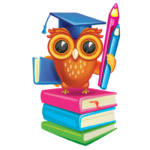An owl with a gradutation cap, holding pencils and standing on books