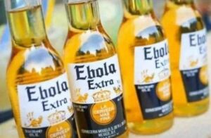 Corona beer bottles with ebola written on them