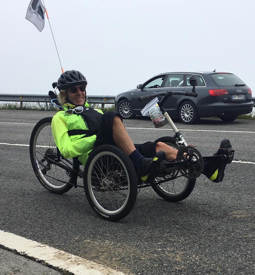 Stephane on his recumbent bike
