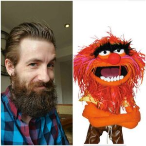 A hairy Gareth next to Animal from the muppets