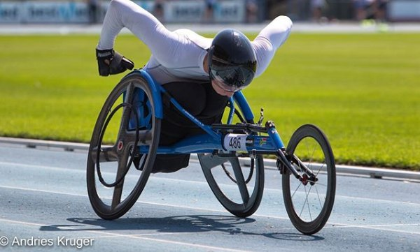Brandon Beack competing at wheelchair racing