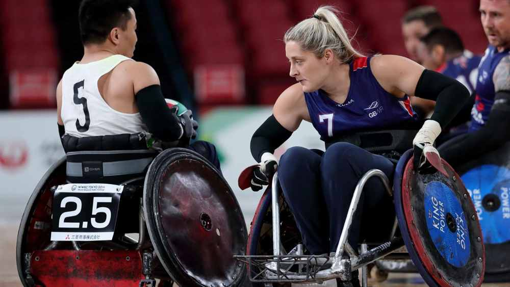 Kylie Grimes competing at wheelchair rugby