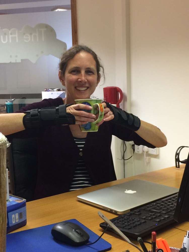 Clare testing out wrist splints