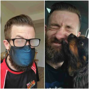 Gareth in a mask and with a dog