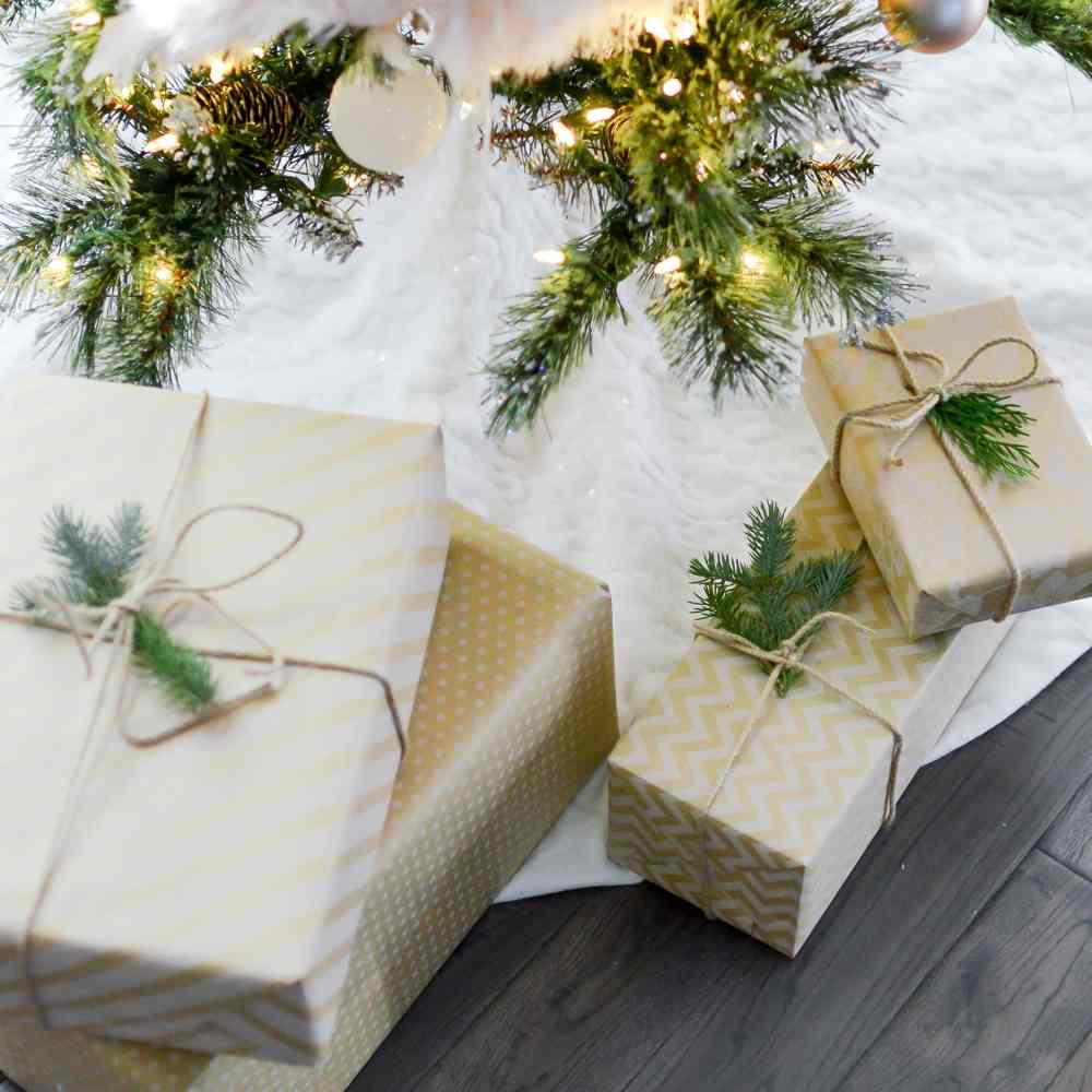 Christmas parcels under a tree