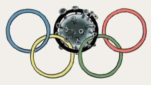 Olympic rings with a covid virus particle trapped in the black ring