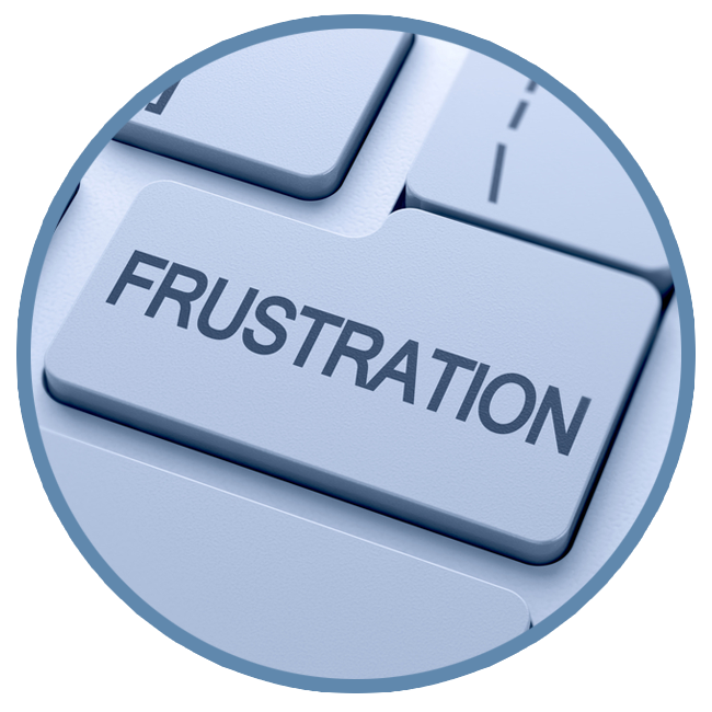 computer key with the word 'frustration' on it