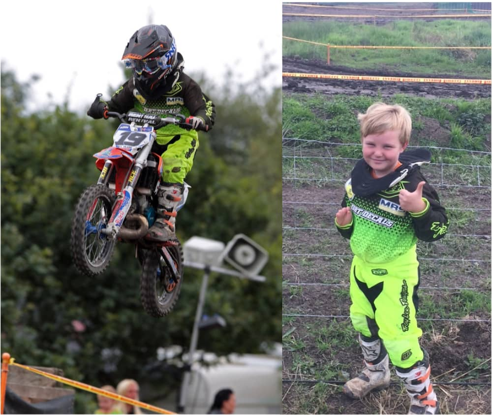 Image shows two pictures side by side. In the first, James is getting some air on his motocross bike, holding onto one of the handlebars with his Limb Difference gripping aid. In the second image, he standing on the grass giving a thumbs up to the camera and smiling.