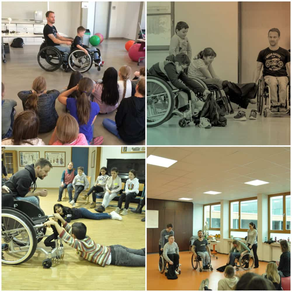 Peter goes into schools and demonstrates what it is like to live with a disability