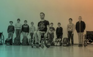 Peter Muller teaches school children about living with a disability