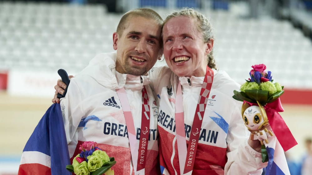 Husband and wife, Neil and Lora Fachie, both won gold medals in cycling