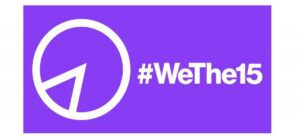 Purple logo with # we the 15 written in white