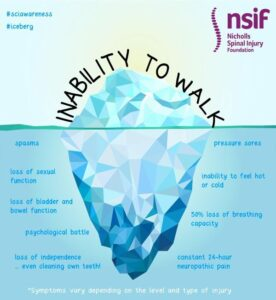 Iceberg with 'inability to walk' written above it. Below the water are listed many hidden effects of Spinal Cord Injury.